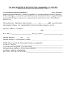 The Following Medical Release Form Is Required For All Minors