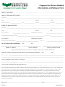 Program For Minors Medical Information And Release Form