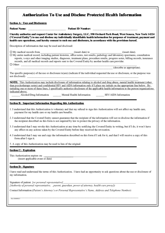 Authorization To Use And Disclose Protected Health Information Printable pdf