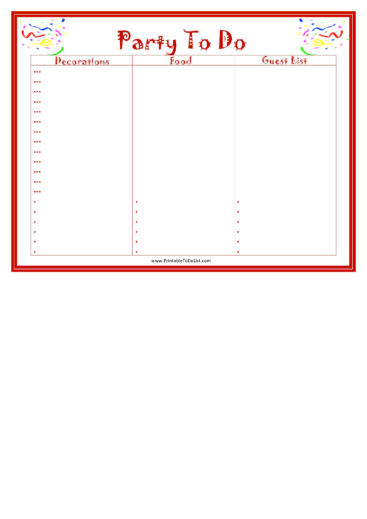 Party To Do List Template