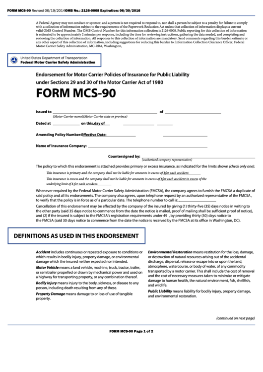 fillable form mcs 90 endorsement for motor carrier