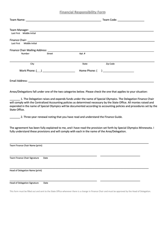 Financial Responsibility Form - Special Olympics Minnesota