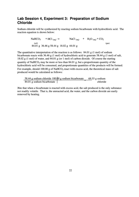 Chemistry Lab Report Template - Lab Session Experiment: Preparation Of Sodium Chloride