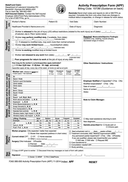 Activity Prescription Form - Washington State Department Of Labor