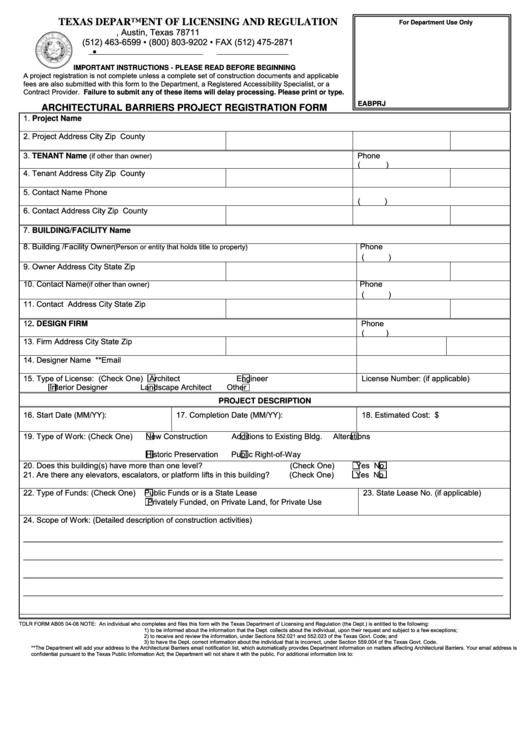 Tdlr Form Ab05 04-08 - Architectural Barriers Project Registration Form Printable pdf
