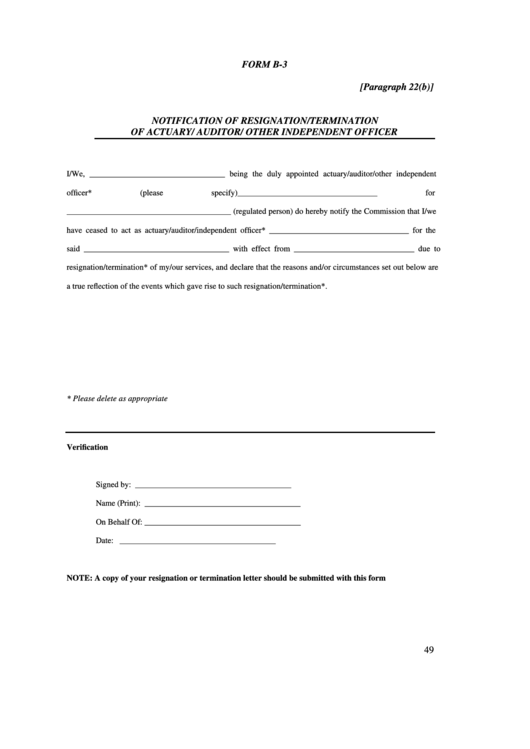 Form B-3 Notification Of Resignation/termination Of Actuary/ Auditor/ Other Independent Officer Printable pdf