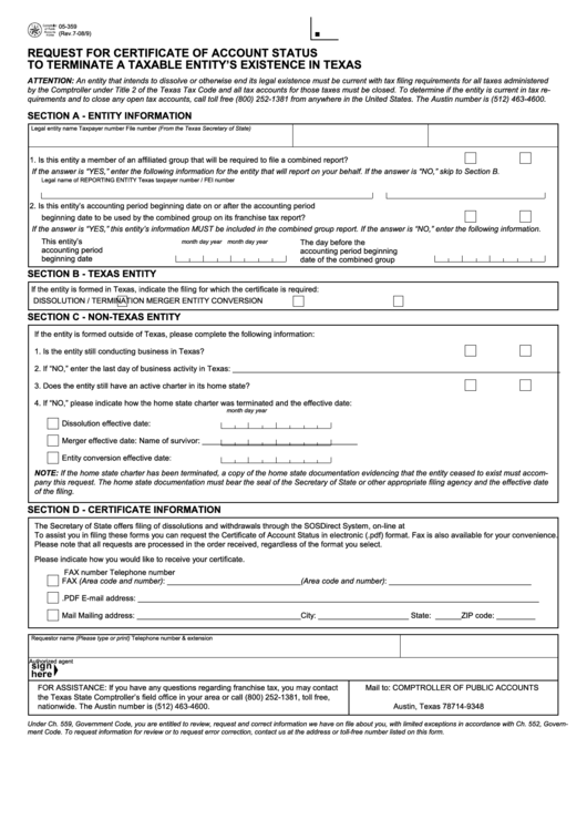 Form 05-359 Request For Certificate Of Account Status To Terminate ...