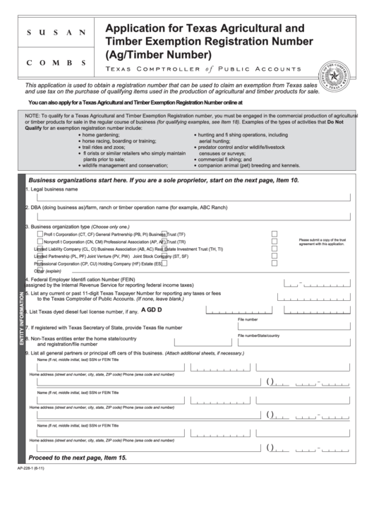 Ap-228 Form - Aapplication For Texas Agricultural And Timber ...