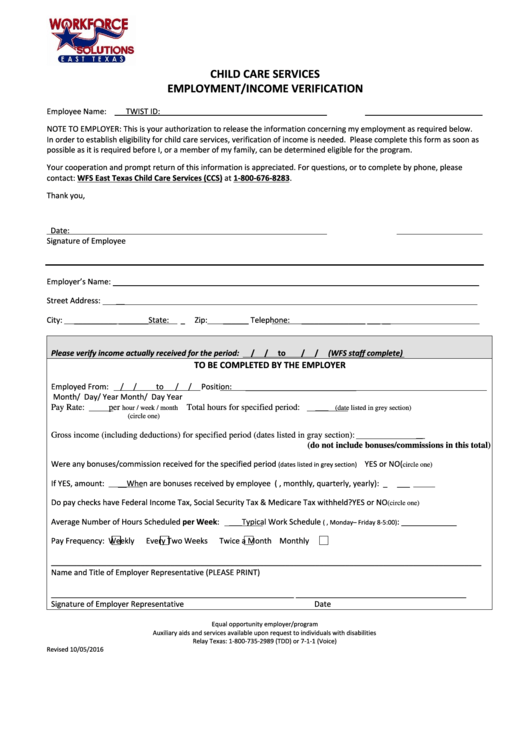 Top 8 Employment Verification Form Texas Templates free to ...