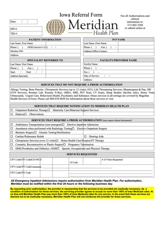 fillable iowa referral form meridian health plan printable pdf download. Black Bedroom Furniture Sets. Home Design Ideas