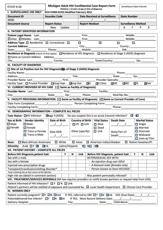 michigan adult hiv confidential case report form printable