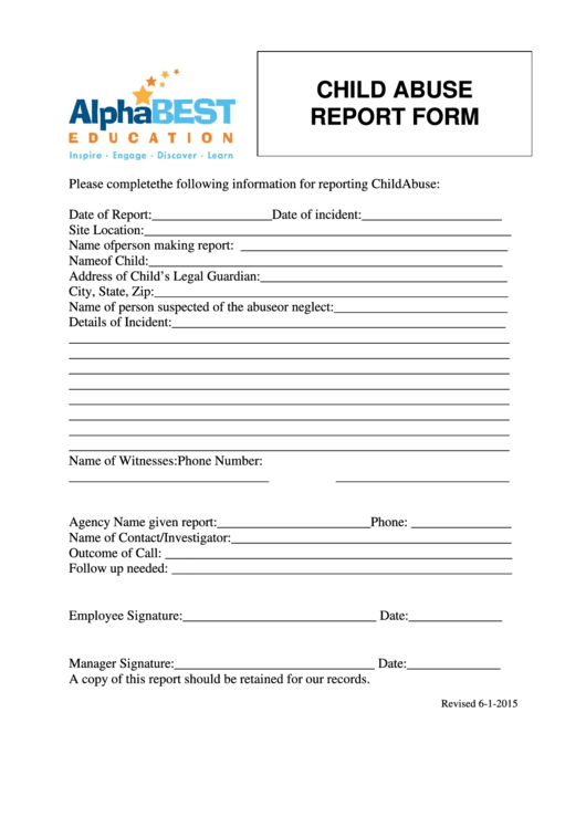 23 Child Abuse Report Form Templates free to download in PDF, Word ...