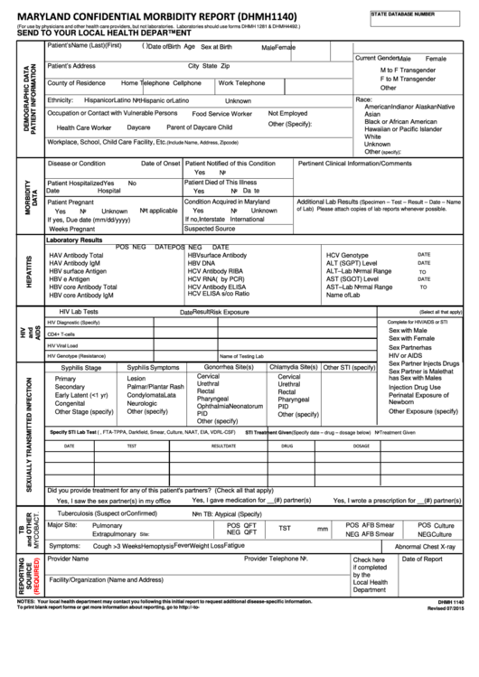 Maryland Confidential Morbidity Report (dhmh 1140)