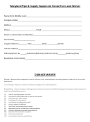Maryland Pipe & Supply Equipment Rental Form And Waiver