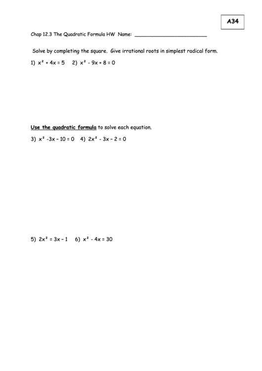 Math Worksheets Completing The Square Irrational Roots Equations