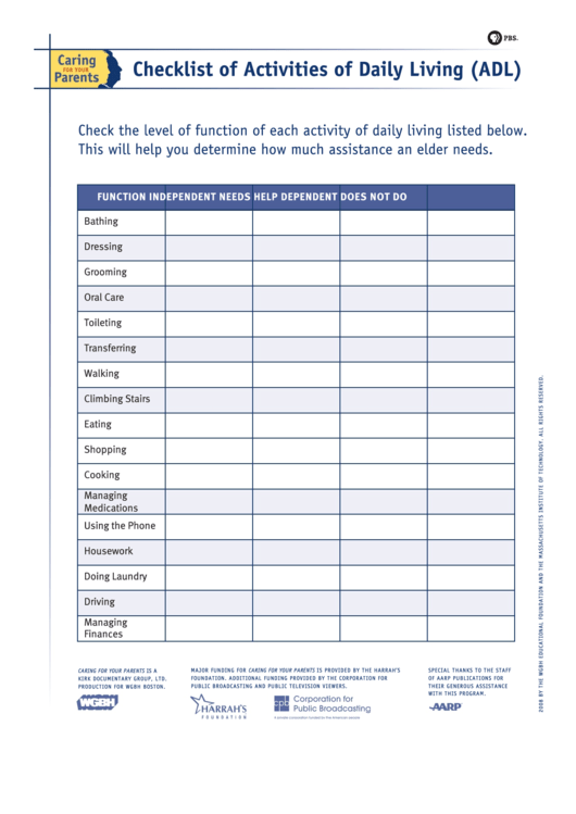 Checklist Of Activities Of Daily Living (Adl) - Pbs Printable pdf