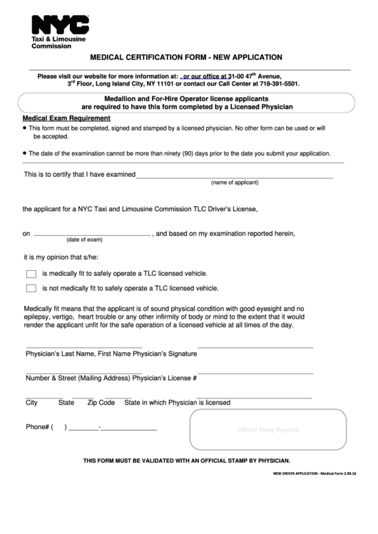 Medical Certification Form - New Application