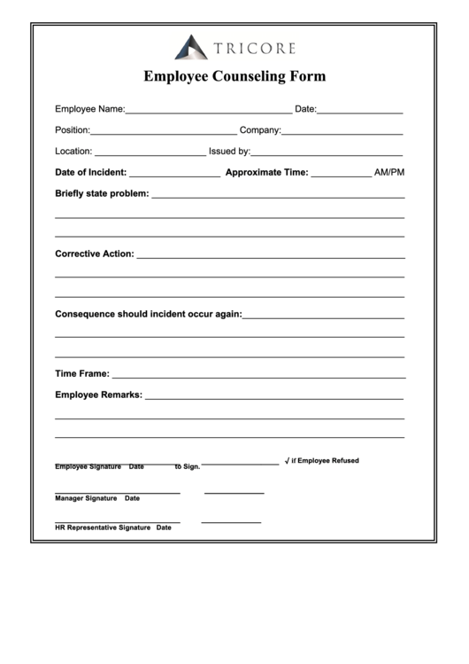 Employee Counseling Form Printable Pdf Download