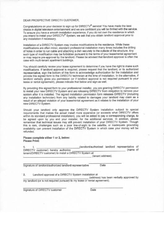 Fillable Directv Landlord Approval Form Printable Pdf Download