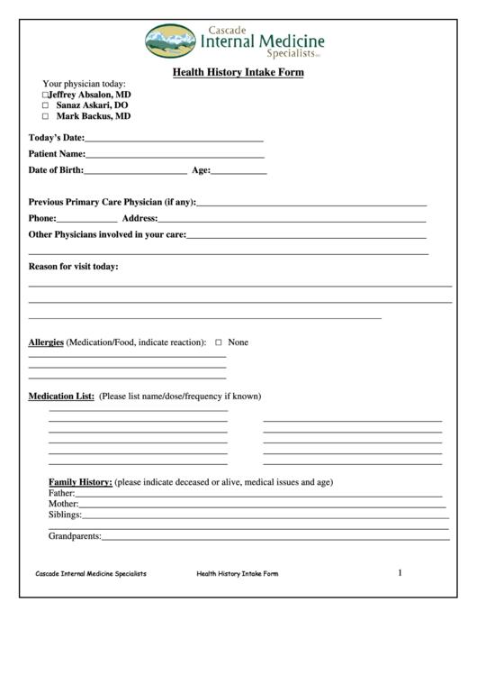 Fillable Health History Intake Form printable pdf download