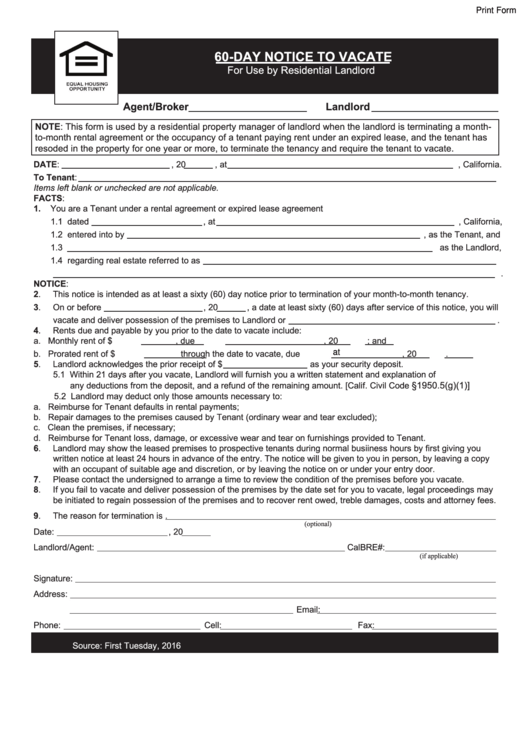 Fillable 60 Day Notice To Vacate Form Printable Pdf Download