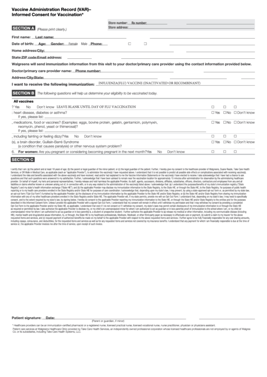 Vaccine administration record var informed consent for for Vaccination consent form template