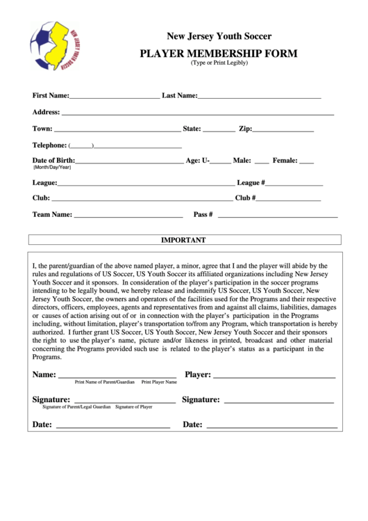 New Jersey Youth Soccer Player Membership Form  Club Membership Form Template Word