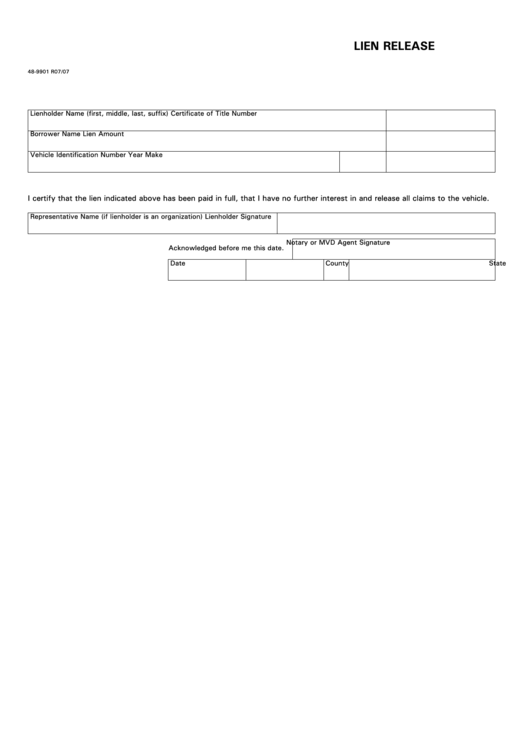 5 Car Lien Release Form Templates Free To Download In PDF, Word .