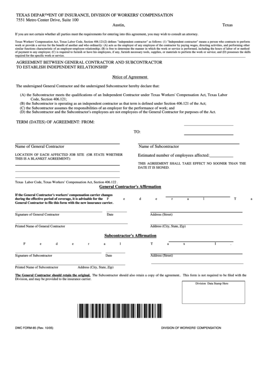 fillable dwc form 85 - agreement between general contractor and subcontractor