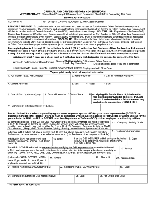Fillable Ps Form 190-6 (April 2015) Criminal And Drivers History Consent Form Printable pdf