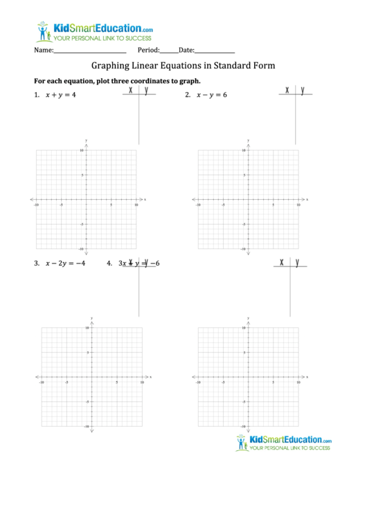Math Worksheet Template - Graphing Linear Equations In Standard Form  Printable Pdf Download