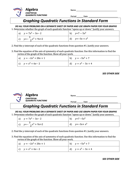 Graphing Quadratic Functions In Standard Form Math Worksheet