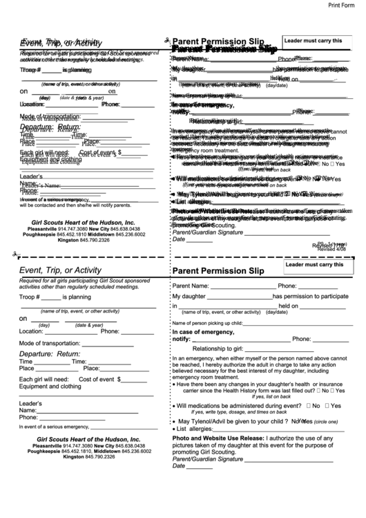 Parent Permission Form - Girl Scouts Heart Of The Hudson
