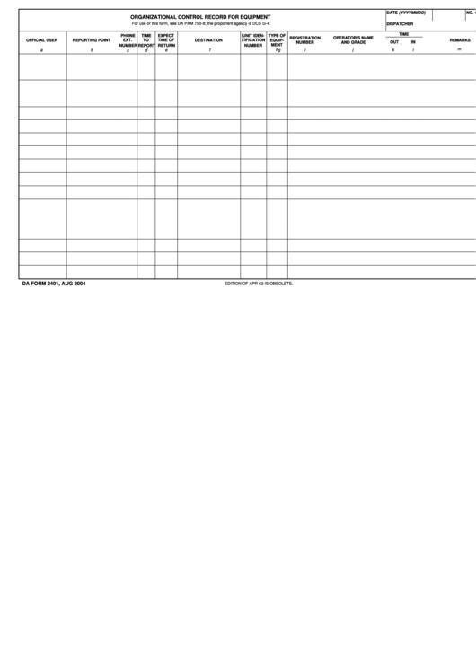 fillable da form 2401 organizational control record for equipment