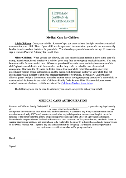 Medical Care Authorization Printable pdf