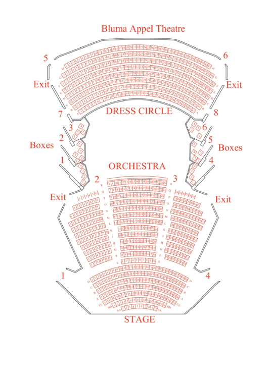 bluma appel theatre seating chart printable pdf download. Black Bedroom Furniture Sets. Home Design Ideas