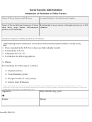 Form Ssa-795 - Social Security Administration Statement Of Claimant Or Other Person