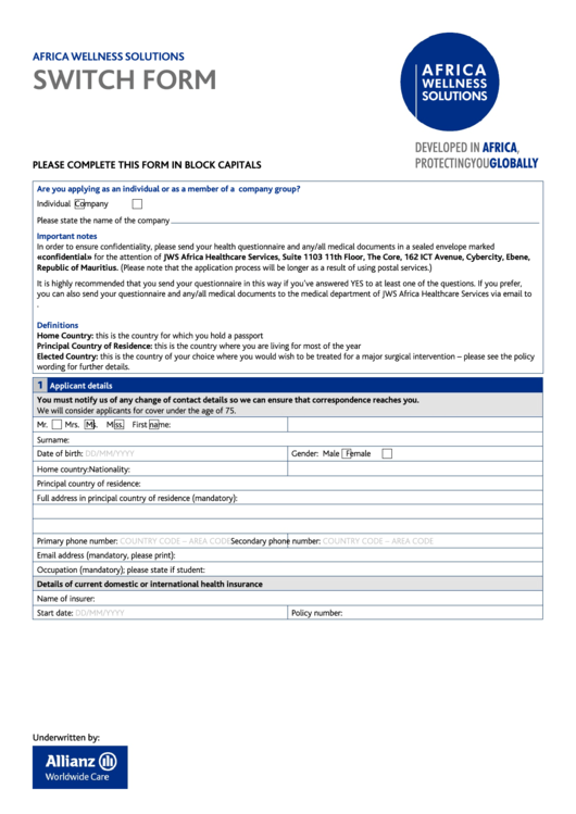 Africa Wellness Solutions Switch Form