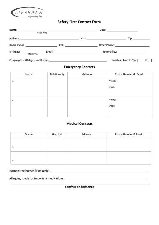 Safety First Contact Form