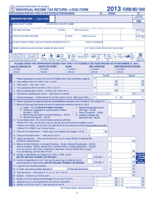 Form Mo-1040 - Individual Income Tax Return - Long Form - 2013 ...