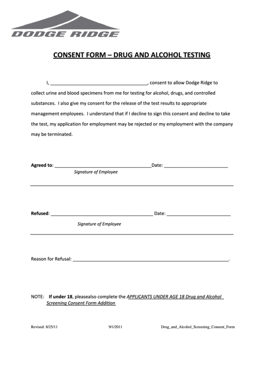 Consent Form - Drug And Alcohol Testing