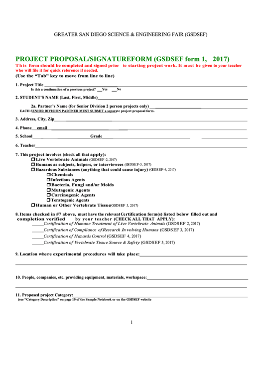 Gsdsef Form 1 - Project Proposal/signature Form