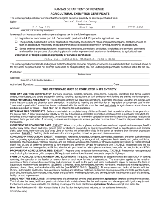 Fillable Form St-28f - Agricultural Exemption Certificate ...