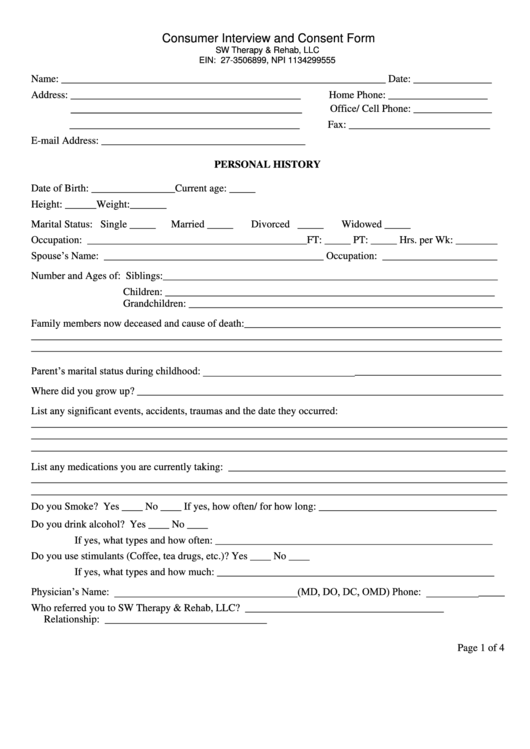 Consumer Interview And Consent Form