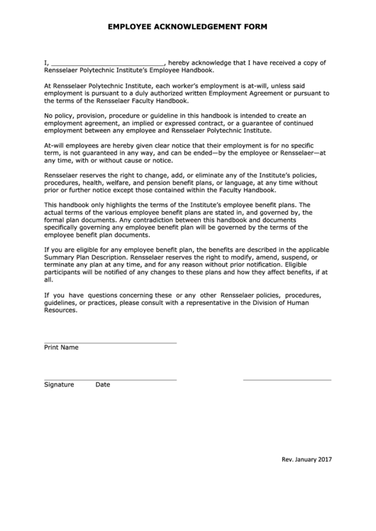 employee acknowledgement form printable pdf download