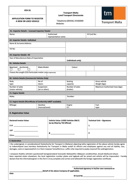 Form Veh 01 - Transport Application Form To Register A New Or Used Vehicle