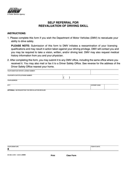 Form Ds 699a - Self Referral For Reevaluation Of Driving Skill