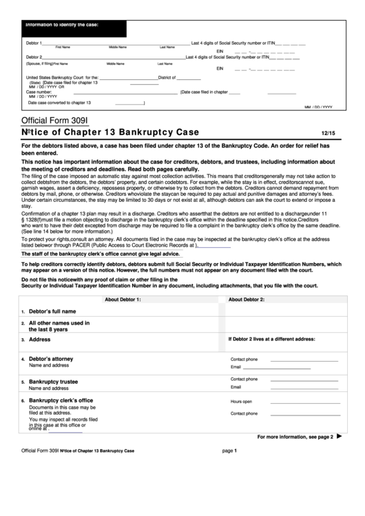 free printable bankruptcy forms