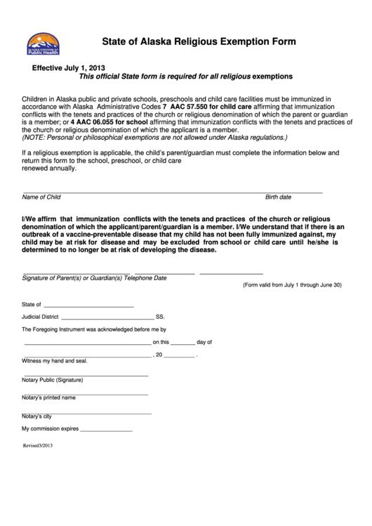 Indiana Gas Tax >> State Of Alaska Religious Exemption Form printable pdf ...