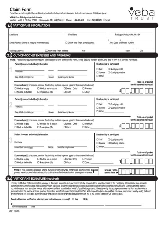 Fillable Veba Trust - Claim Form printable pdf download